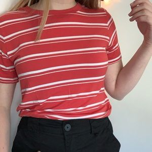 Striped coral and white tee